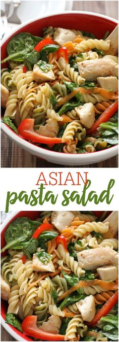 Asian Pasta Salad Delicious Asian Pasta Salad recipe – so delicious and flavorful! Pasta, chicken, carrots, spinach in a yummy dressing! Italian Salad Recipes, Chopped Salad Recipes, Spinach Salad Recipes, Spinach Pasta, Chicken Salad Recipes, Pasta Recipes, Cooking Recipes, Healthy Recipes, Gourmet