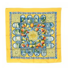 Hermès Les Jardins d'Andalousie scarf. Crafted in silk, this lovely scarf comes in beautiful yellow.