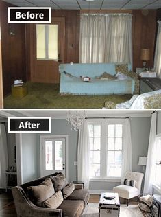 Elizabeth Burns Design Family Farmhouse Fixer Upper - French Farm House Living Room before and afters; Mobile Home Renovations, Remodeling Mobile Homes, Home Remodeling, Mobile Home Makeovers, Kitchen Makeovers, House Renovations, Kitchen Remodeling, Home Living Room, Interior Design Living Room