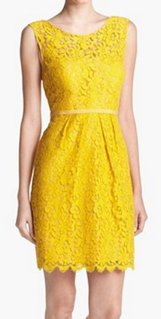 Pretty lace sheath dress in #yellow http://rstyle.me/n/hk759nyg6