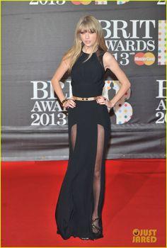 Taylor Swift - Brit Awards 2013; Elie Saab dress, Giuseppe Zanotti shoes, and Neil Lane jewels
