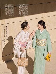 右・本塩沢(単衣) 左・塩沢紬(単衣) 美しいキモノ2018春 Japanese Costume, Japanese Kimono, Girls Dresses Sewing, Dress Sewing, Yukata Kimono, Japanese Outfits, Kimono Fashion, Costumes For Women, My Style