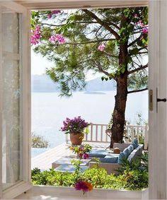 Lake House | summer | terrace | view through a window