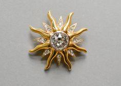 90s vintage sun brooch 90s statement jewelry by MightyVintage