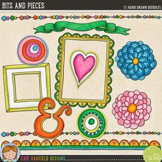 """Bits 'n Pieces"" - free digital scrapbooking elements! Contains coloured and black and white line art versions. Hand-drawn illustrations for digital scrapbooking, crafting and teaching resources from Kate Hadfield Designs! Free Doodles, Cool Doodles, Scrapbook Templates, Scrapbook Paper, Doodle Frames, Printable Crafts, Free Printables, Digital Scrapbooking Freebies, Flower Frame"