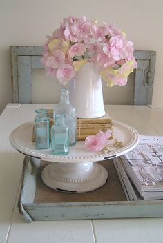 Such a pretty idea... use a cake dish as the beginning of something beautiful.