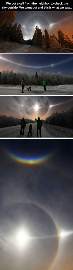 These mind-blowing pictures of the night sky have not been Photoshopped, but show an actual natural phenomenon, called the A 22 degree halo. It forms as sunlight is refracted in millions of randomly oriented hexagonal ice crystals suspended in the atmosphere. The halo is large; the radius is roughly the size of an outstretched hand at arms length.
