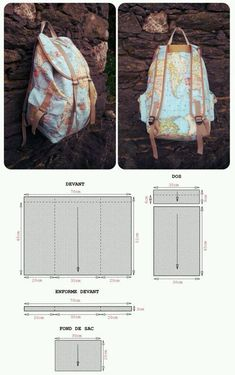 Make your own bag! Here you'll find an simple Back Pack Pattern. I'd love to learn how to make the kind of back pack as shown in the above photos.Wow, Great bag, but hope you can read french! If not, try to copy and paste the…Backpack with sewing p Sewing Tutorials, Sewing Crafts, Sewing Projects, Sewing Patterns, Diy Crafts, Mochila Jeans, Diy Backpack, Backpack Pattern, Couture Sewing