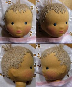 This is the way my mother sewed dolls' hair on, making dolls all by hand for her grandchildren. Perfectly!
