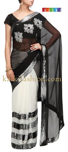 Buy it now http://www.kalkifashion.com/half-and-half-saree-in-white-and-black-with-sequence-work.html Half and half saree in white and black with sequence work