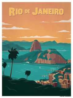 Image of rio de janeiro poster poster city, south america travel, travel illustration, Retro Poster, Vintage Travel Posters, City Poster, Poster Poster, Beach Posters, Photo Vintage, Illustrations And Posters, Vintage Advertisements, Digital Prints