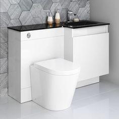 Olympia Gloss White Drawer Vanity Unit - Sabrosa Pan White Drawer Vanity Unit With Combined T Toilet Vanity Unit, Toilet And Sink Unit, Toilet Sink, Bathroom Vanity Units, Bathroom Furniture, Olympia, Glass Basin, Basin Sink, Tropical Bathroom