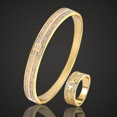 Blucome AAA Zircon Bangle & Bracelet Men's Brand Love Bangles Fashion Women's Gold-color Puseiras Dubai Jewelry Wedding Bijoux