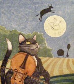 Hey Diddle Diddle, the Cat & the Fiddle - detail.   MARNIE SHAW ART Hole In The Sky, Hey Diddle Diddle, Cats Musical, Good Night Moon, Moon Art, Children's Book Illustration, Stars And Moon, Cat Art, Fairy Tales