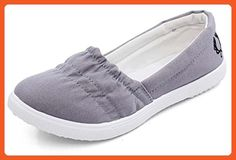Maybest Women Loafers Soft Slip On Canvas Flats Shoes Solid Casual Breathable Shoes For Mother Platform Shoes Grey 5 B (M) US - Loafers and slip ons for women (*Amazon Partner-Link)