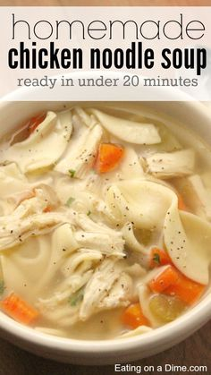 Try this easy 20 minute homemade chicken noodle soup next time you are in the mood for comfort food, but don't have all the time to make it.