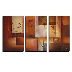 This colorful three-piece canvas art print from an unknown artist will spruce up any drab wall. Abstract 11 features bold colors in a gorgeous abstract print. This print comes in three pieces and together makes one artistic art piece.