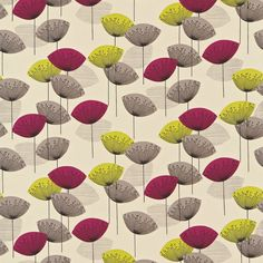 Dandelion Clocks - Sanderson Fabrics - A fun and funky retro design. Stylised dandelion heads with seeds radiating from a central point . Shown in the Blackcurrant colourway. Please request sample for true colour match. Sanderson Fabric, Dandelion Clock, Retro Design, Wall Wallpaper, Soft Furnishings, Textures Patterns, True Colors, Wall Design, Soft Fabrics