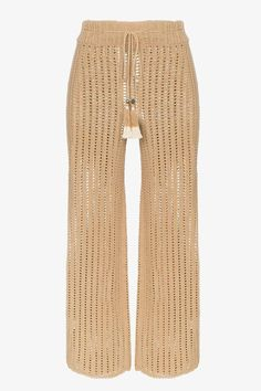 She Made Me Sita crochet cropped trousers - Brown Summer Fashion For Teens, Fashion For Women Over 40, Summer Fashion Trends, Summer Fashion Outfits, Fashion Pants, Women's Fashion Dresses, Fashion Backpack, Cropped Trousers, Trousers Women