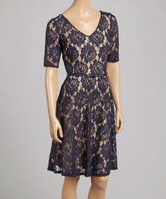 Look what I found on #zulily! Navy & Nude Belted Dress by Gabby Skye #zulilyfinds