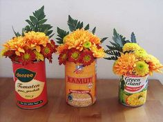 recycling cans for fall flower arrangements