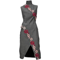 Preowned Mcqueen Voss Oriental Dress (21.961.495 IDR) ❤ liked on Polyvore featuring dresses, multiple, embroidery dress, alexander mcqueen dresses, wool dress, embroidered flower dress and grey dress