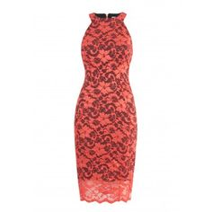 """This beautifully fitted bodycon dress is made using a stunning coral lace fabric over a navy Ponti lining and has a high neckline with racer sleeves. The racer style is sexy and flattering and the fabric adds extra luxury to this party number. <br /> Mannequin wears size 8 UK/EU 36. <br /> Side neck to hem measures: 107 cm/42""""<br /> Machine Wash according to instructions on label: Machine wash, cold, should not exceed 30C. Iron, low. Dry Clean, any solvent except Trichloroethylene. Do not..."""
