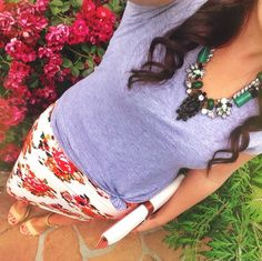 Love the floral pencil skirt with a casual gray t shirt and a statement necklace! || Instagram Favorite Outfit Ideas || Modest Style Blog | Modest fashion inspiration | Check out my blog! modest-style.com || Back to school, summer, fall, winter ideas ||