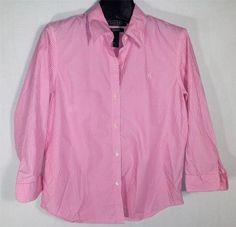 RALPH LAUREN Polo Women's Black Label Blouse Petite Pink and White Stripes