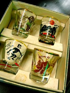 vintage shot glasses, not PC, but an old set. I have these from my Grandmother's collection.