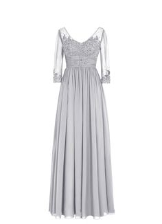 Plus Size Long Illusion Sleeves Lace Flower Mother of the Bride Dress. Available in many many colors