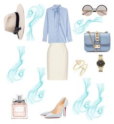 """""""Water"""" by weijin ❤ liked on Polyvore featuring moda, Valentino, Oscar de la Renta, Brooks Brothers, Christian Louboutin, Marc by Marc Jacobs, Kendra Scott, Christian Dior i weicollention"""