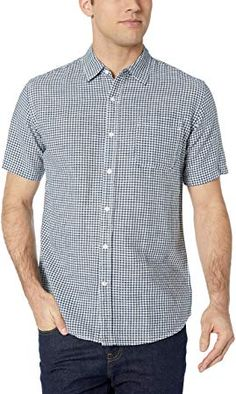 accab3ff The perfect Amazon Essentials Men's Regular-fit Short-Sleeve Gingham Linen Shirt  Men Clothing