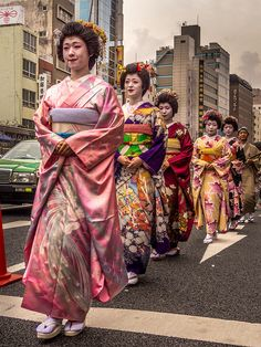 "Asakusa Oiran Dochu 14/19 Especially for this parade, the oiran were followed by a group of Asakusa's ""geisha light"" or ""furisode-san"" #Asakusa, #Oiran, #Dochu, #furisode November 9 2014 © Grigoris A. Miliaresis"