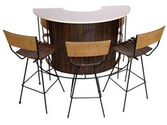 Half Circle Slatted Bar and Stools by Arthur Umanoff | Aurthur Umanoff for Raymor Bar Set V&M #: 365026 $1,600.00