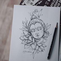 Buda Tattoo, Pencil Art Drawings, Art Drawings Sketches, Tattoo Drawings, Tattoo Ink, Tattoo Sketches, Buddha Tattoo Design, Buddha Lotus Tattoo, Buddha Drawing