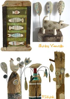 Fishinkblog - so cool!  Very cute whimsical pieces of pottery with reclaimed wood or driftwood!  I love all of her stuff!!!!!