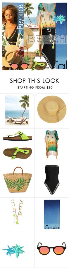 """""""Beyoncé in Beach"""" by goreti ❤ liked on Polyvore featuring Birkenstock, Brigitte, Aranáz, Norma Kamali, Calvin Klein, Italia Independent, GetTheLook and CelebrityStyle"""