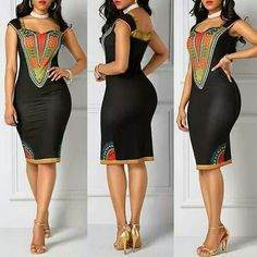 Dashiki Print Open Back Black Sheath Dress African Dresses For Women, African Print Dresses, African Attire, African Wear, African Fashion Dresses, African Women, African Prints, African Inspired Fashion, African Print Fashion