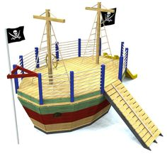 pirate ship playhouse plan with gang plank, fire pole and flags