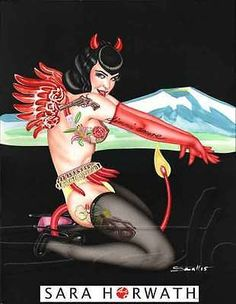 Betty Page hot devil burlesque origi. pin-up art illustration by SARA HORWATH