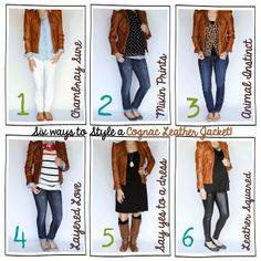 Six Ways to Style~{A Cognac Leather Jacket}