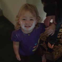 Think someone was naughty and got into the destine. She was trying to shave like daddy.. To funny!