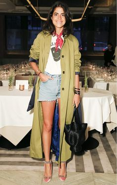 Leandra Medine in the VEDA x Man Repeller trench coat in Olive