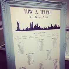 1817bbe15143f12958f01ebad1cff476 seating plans table plans wedding invitation new york skyline purple and black with pocket,New York Style Wedding Invitations