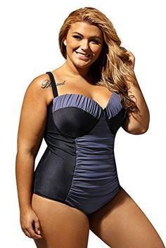 86c77b89e7901 Plus Size Women One Piece Swimwear Stretch Monokini XXXX-Large Grey black Plus  Size Swimsuits