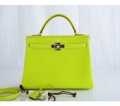 Hermes Kiwi & Lichen Epsom 32cm Kelly Bag with Palladium Hardware