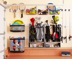 Enlist Wall Space  Because shelves tend to collect clutter, opt for solutions that mount to the wall or ceiling. They take up less space and require you to designate specific spots for each item. A wall-hung storage system organizes a mountain of sports gear in a slim space, keeping the floor clear of clutter and allowing a car to park nearby.