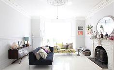 white floor + black furniture + hints of color
