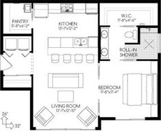Empty nesters house Plan House Plans by Pantry and perfect bathroom in small plan The Plan, How To Plan, Plan Plan, Small House Plans, House Floor Plans, 1 Bedroom House Plans, Cottage Plan, Cottage House, Custom Home Designs